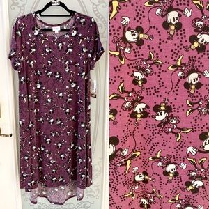 NEW! LuLaRoe Carly Minnie Mouse Swing Dress L 1214